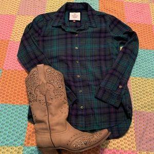 Green Plaid Button Up Shirt